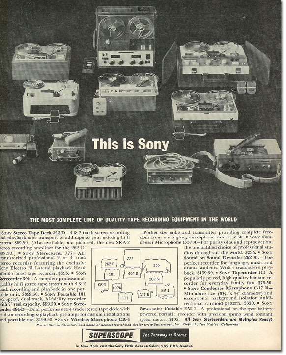 picture of 1963 Sony tape recorder ad