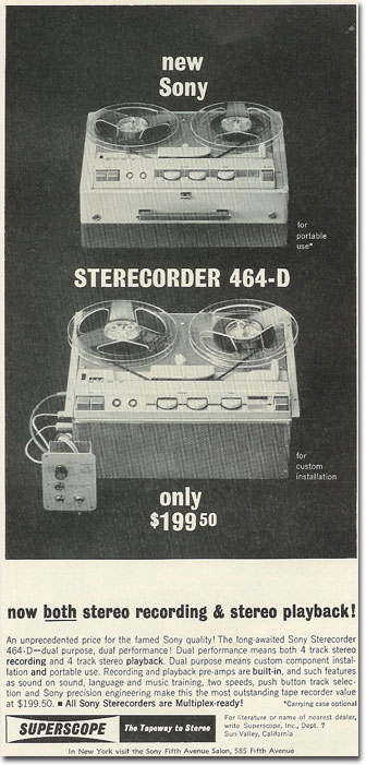 picture of 1963 Sony 464D tape recorder ad