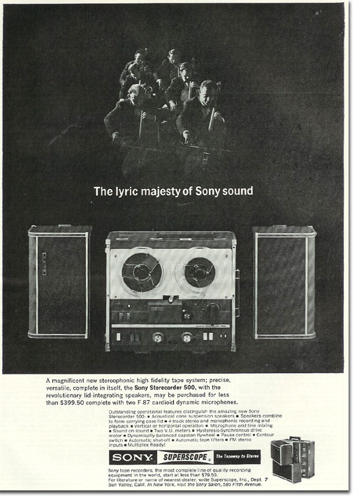 picture of 1963 Sony 500 tape recorder ad