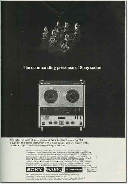 picture of 1963 Sony 600 tape recorder ad