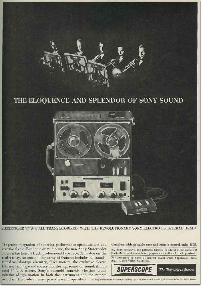 picture of 1963 Sony 777 tape recorder ad