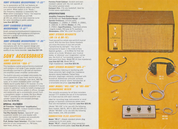 Sony Accessories in 1963 Sony catalog in Phantom Productions' reel tape recorder collection