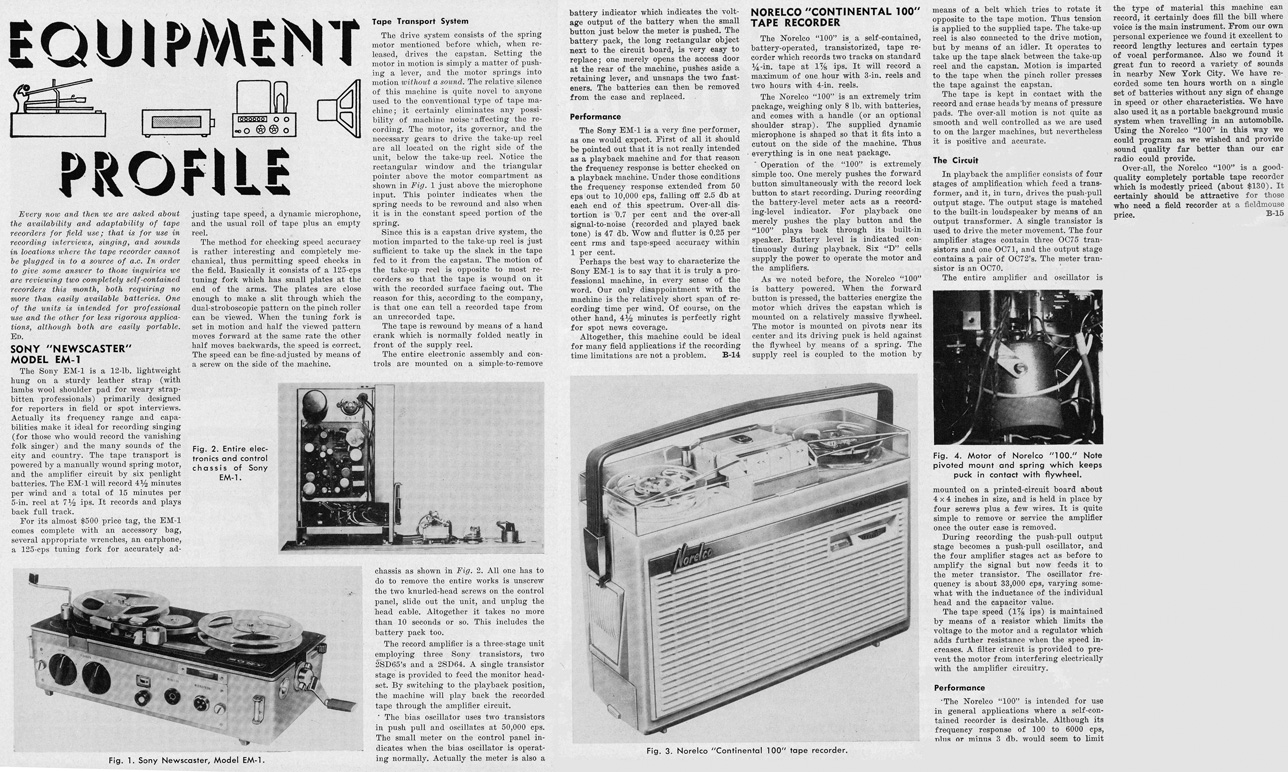 1963 review of the Sony Broadcaster professional portable reel to reel tape recorder and the Norelco 100 portable tape recorder