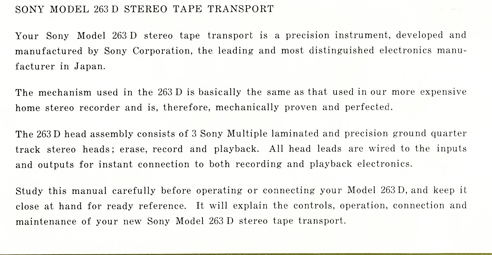1963 manual for the Sony TC-263D reel to reel tape recorder in Reel2ReelTexas.com's vintage reel tape recorder collection