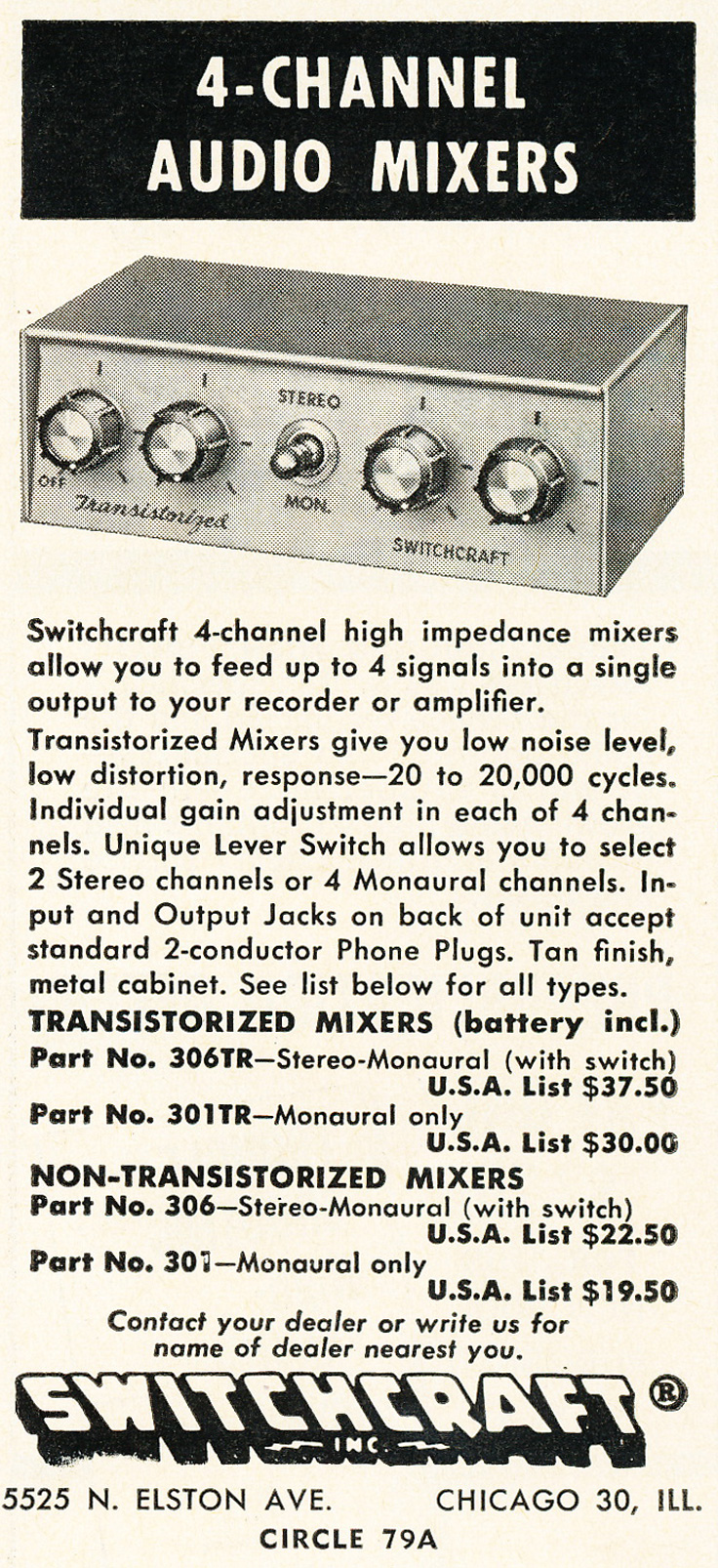 1963 ad for the Switchcraft 4 channel microphone mixer in Reel2ReelTexas.com's vintage recording collection