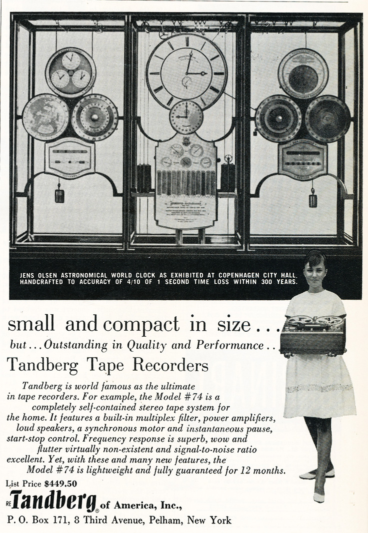 1963 ad for Tandberg's Model #74 reel to reel tape recorder in Reel2ReelTexas.com's vintage recording collection