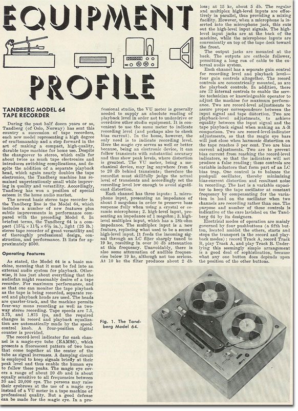 picture of 1963 Tandberg 64 tape recorder Review