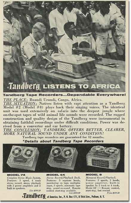 picture of 1963 Tandberg tape recorder ad