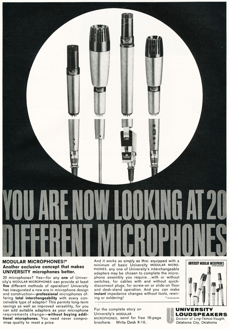 1963 ad for University microphones in Reel2ReelTexas.com's vintage recording collection