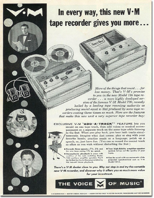 picture of 1963 Voice of Music reel tape recorder ad