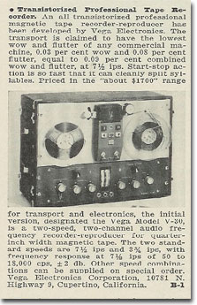 picture of 1963 Vega tape recorder ad