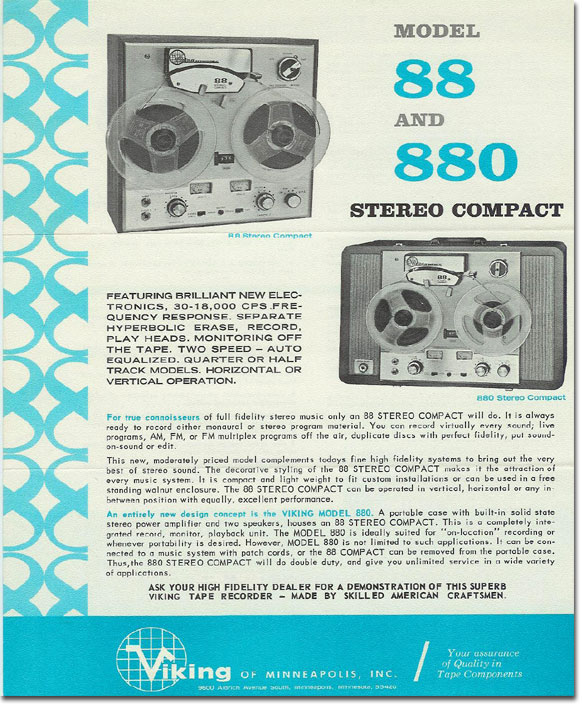 picture of Viking 880 reel tape recorder brochure