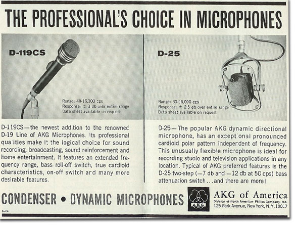 picture of 1964 AKG microphone ad