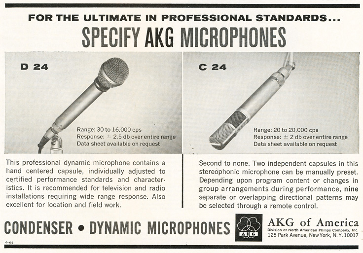 1964 ad for AKG microphones in Reel2ReelTexas.com's vintage recording collection