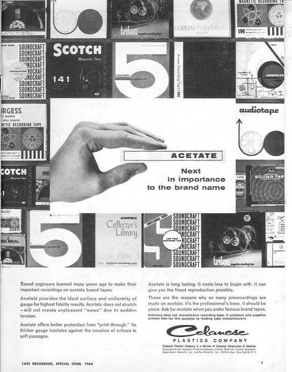 1964 ad for Acetate recording tape in Phantom Production's vintage tape recording collection