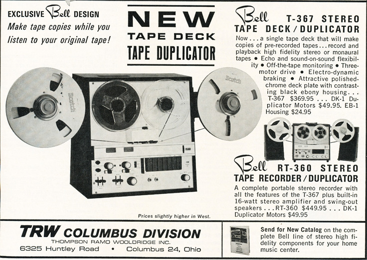 1964 Bell RT-360 tape recorder ad in Phantom Productions' reel to reel tape recorder collection