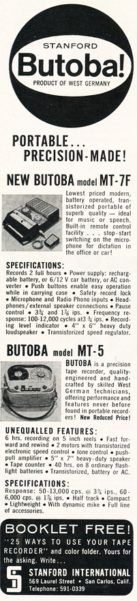 1964 ad for the Butoba reel to reel tape recorder in Reel2ReelTexas.com's vintage recording collection