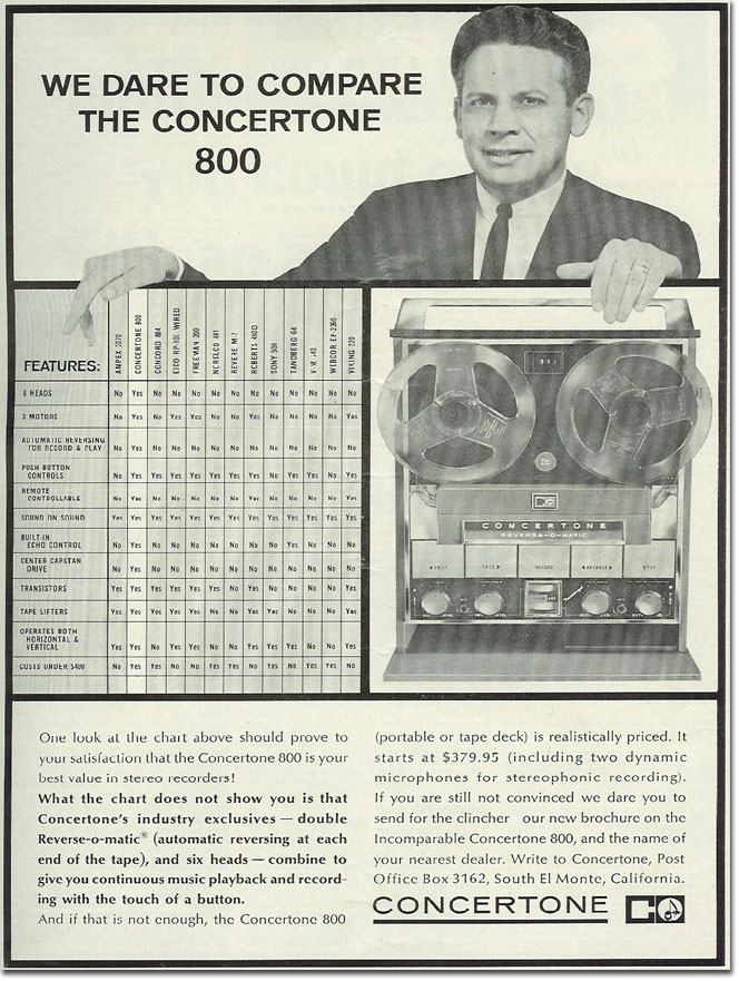 picture of 1964 Concertone reel tape recorder ad