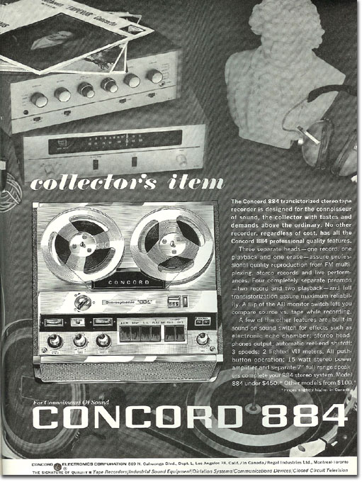 picture of 1964 Concord reel tape recorder ad