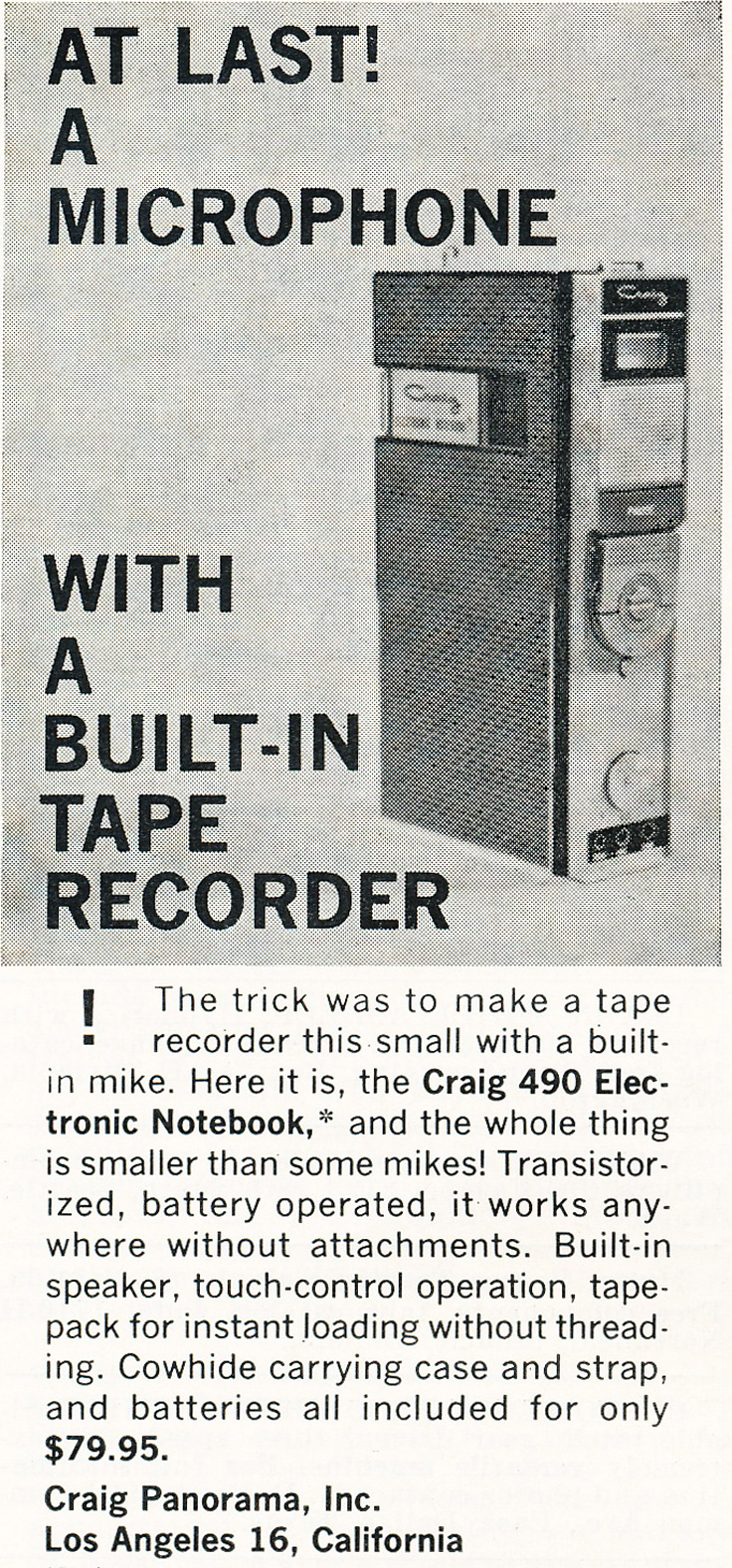 1964 ad for Craig recorder