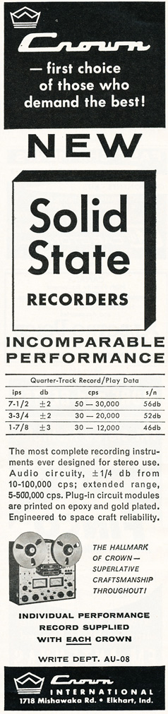 1964 ad for the Crown professional reel to reel tape recorders in Reel2ReelTexas.com's vintage recording collection