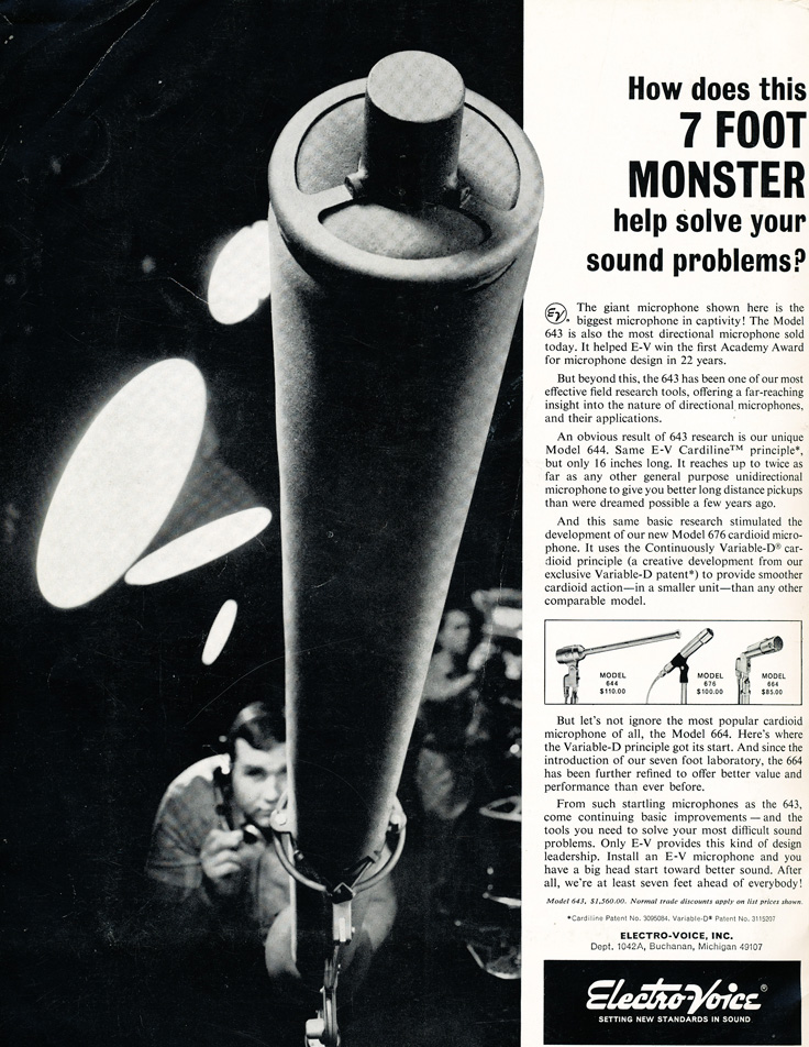 1964 ad for the Electro Voice 643 professional microphone in Reel2ReelTexas.com's vintage recording collection