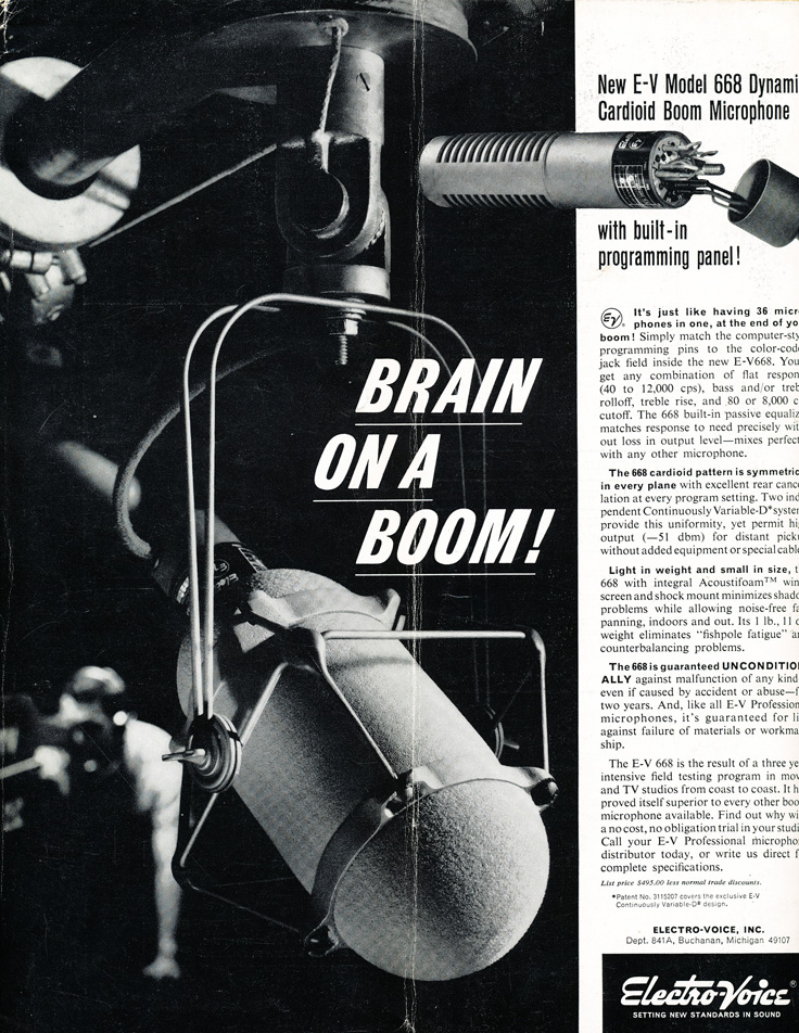 1964 ad for the Electro Voice 668 professional microphone in Reel2ReelTexas.com's vintage recording collection