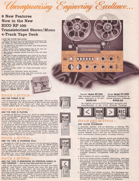 1964 Eico RP-100 reel tape recorder ad in   Reel2ReelTexas.com's vintage recording collection