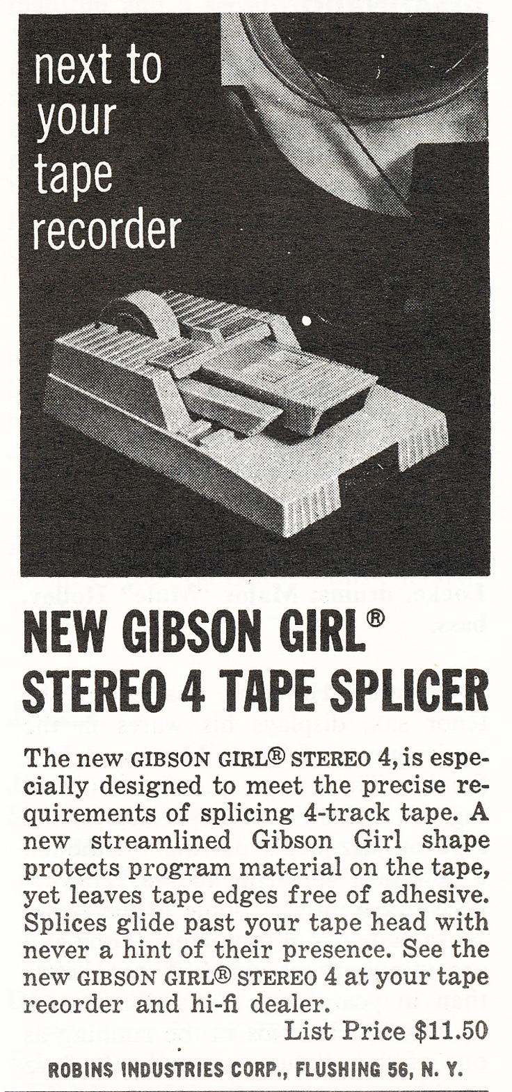 1964 ad for the Robins Gibson Girl reel to reel recording tape splicer in Reel2ReelTexas.com's vintage recording collection