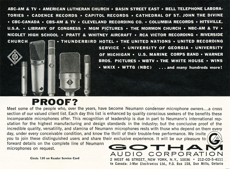 1964 ad for Gotham audio productions in Reel2ReelTexas.com's vintage recording collection