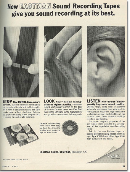 picture of 1964 Eastman Kodak recording tape ad