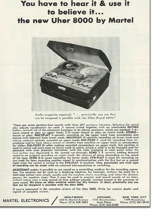 picture of 1964 Martel Uher reel tape recorder ad