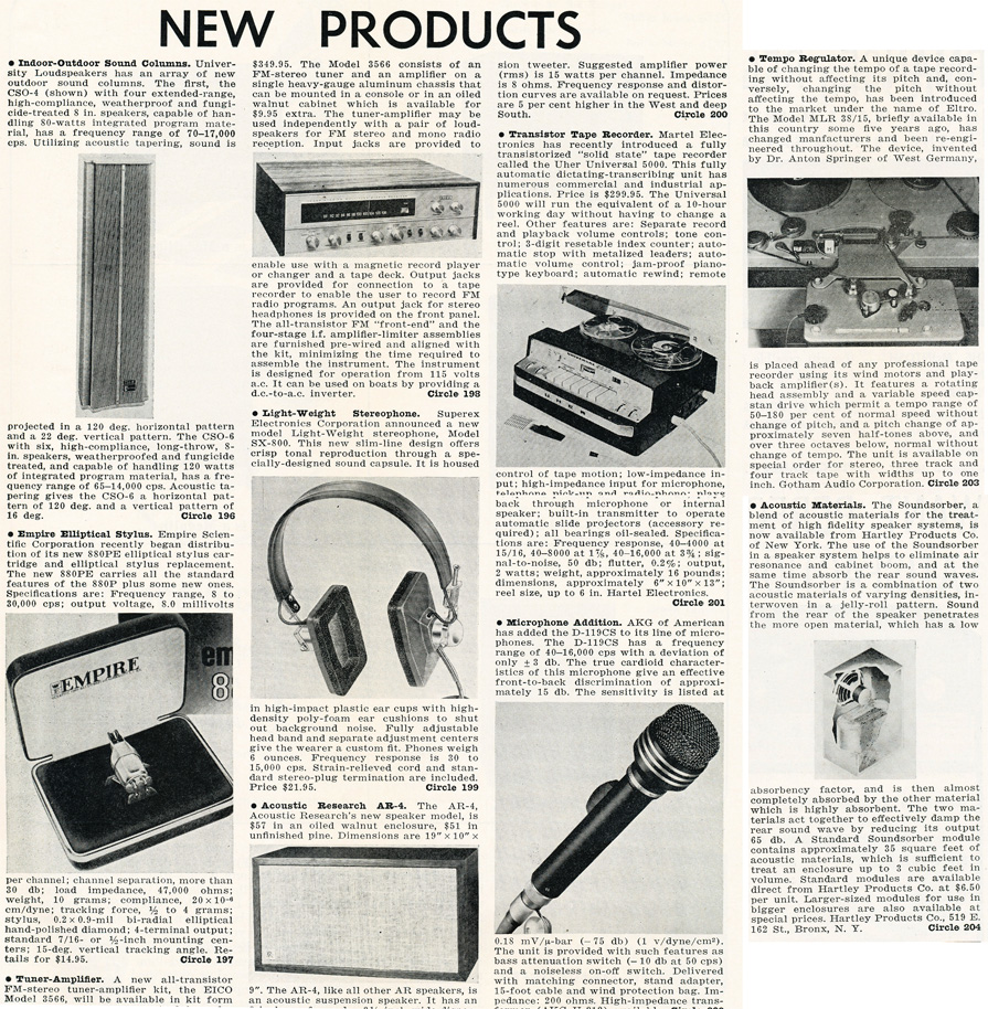 1964 listing of New products in Reel2ReelTexas.com's vintage recording collection
