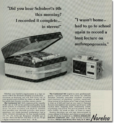 picture of 1964 Norelco Tape recorder ad