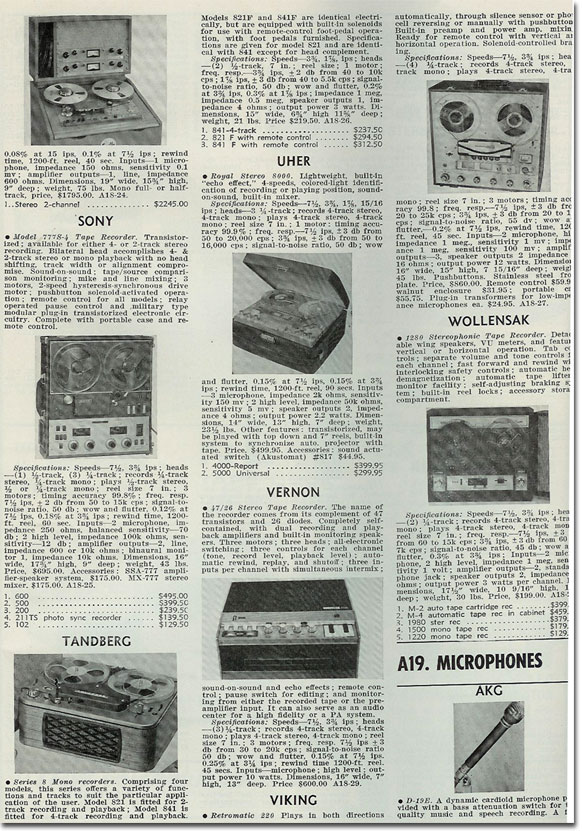 picture of 1964 reel to reel tape recorder index