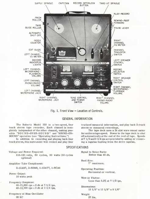 1964 manual for the Roberts 330 reel tape recorder in Phantom Productions' vintage tape recording collection
