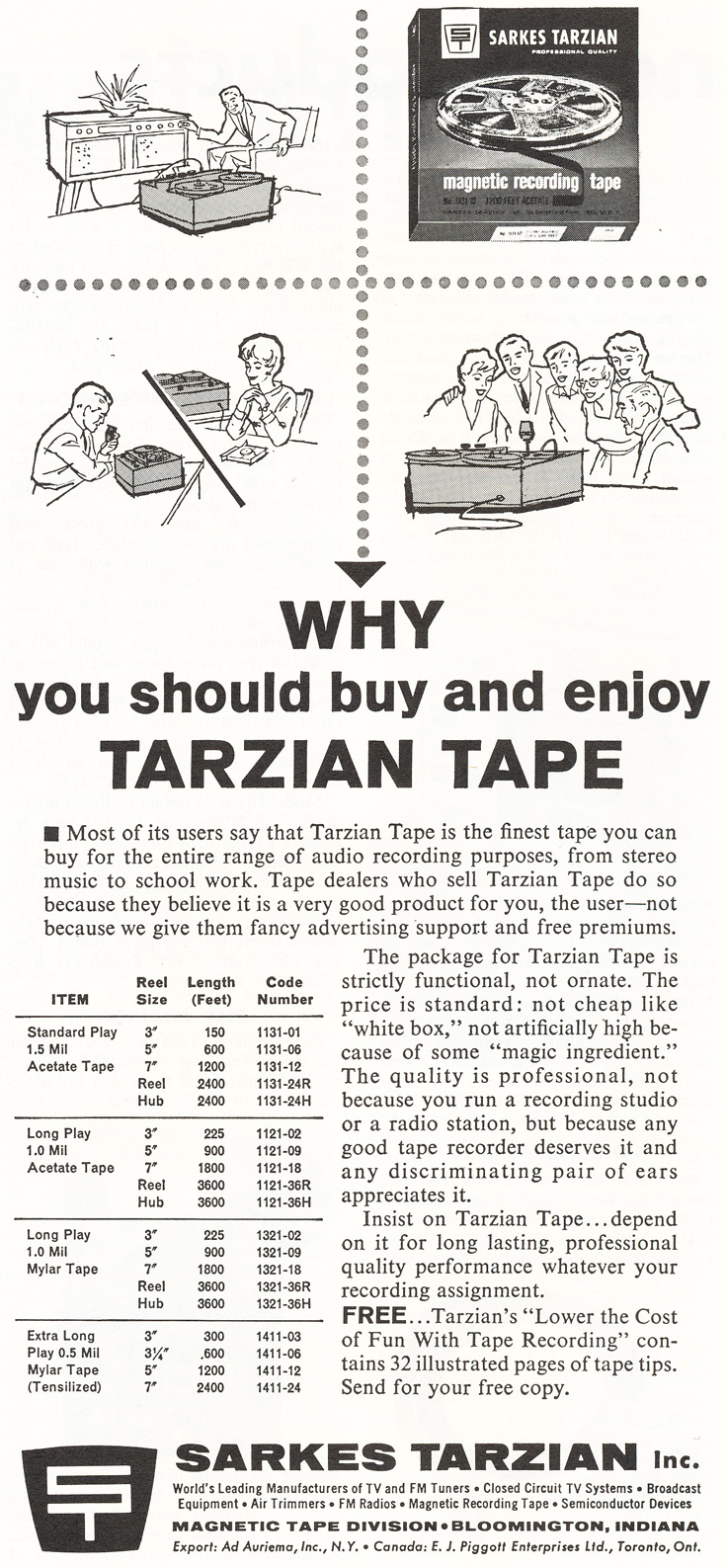 1964 ad for Sarkes Tarzien reel to reel recording tape in   Reel2ReelTexas.com's vintage recording collection