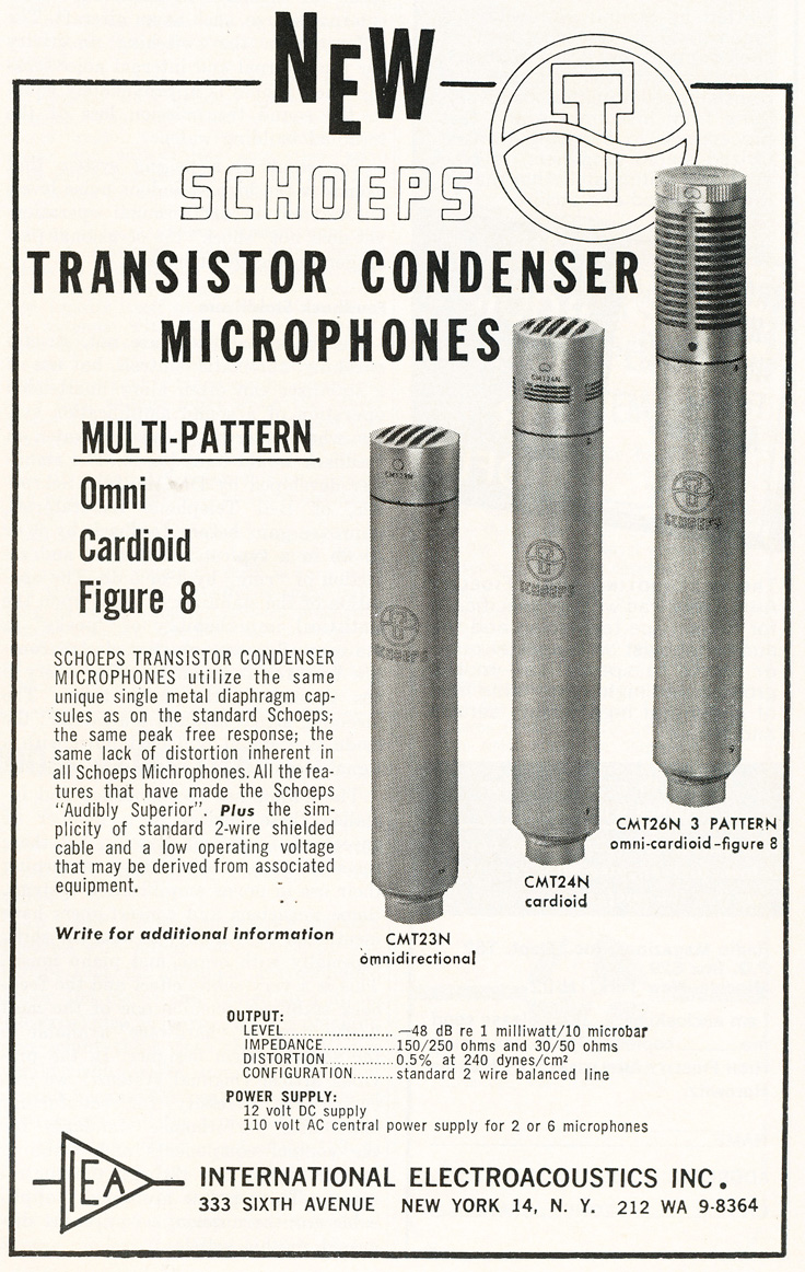 1964 ad for Schoeps microphones  in Reel2ReelTexas.com's vintage recording collection