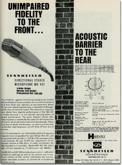 picture of 1964 Sennheiser microphone ad