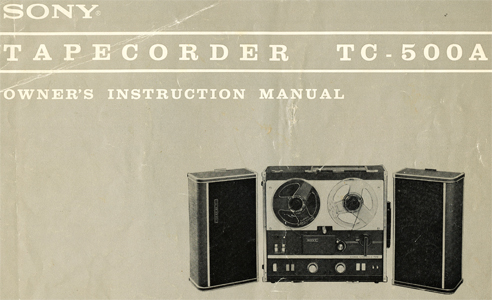 1964 Sony TC-500A manual  in Reel2ReelTexas.com's vintage reel tape recorder collection