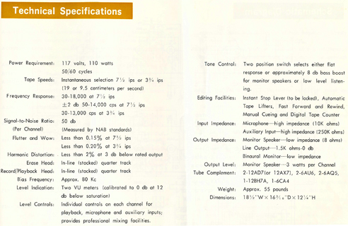1964 Sony TC-500A manual page listing the tape recorder's specifications in Reel2ReelTexas.com's vintage reel tape recorder collection
