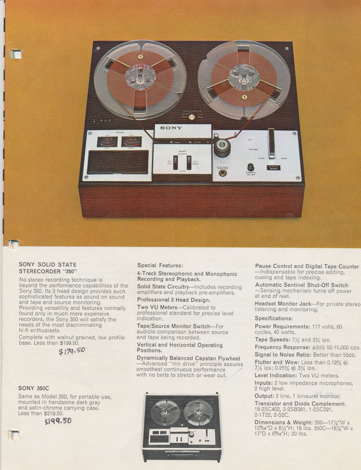 Sony 350 in the 1964 Sony Tape Recorder Catalog in Reel2ReelTexas.com's vintage reel tape recorder collection