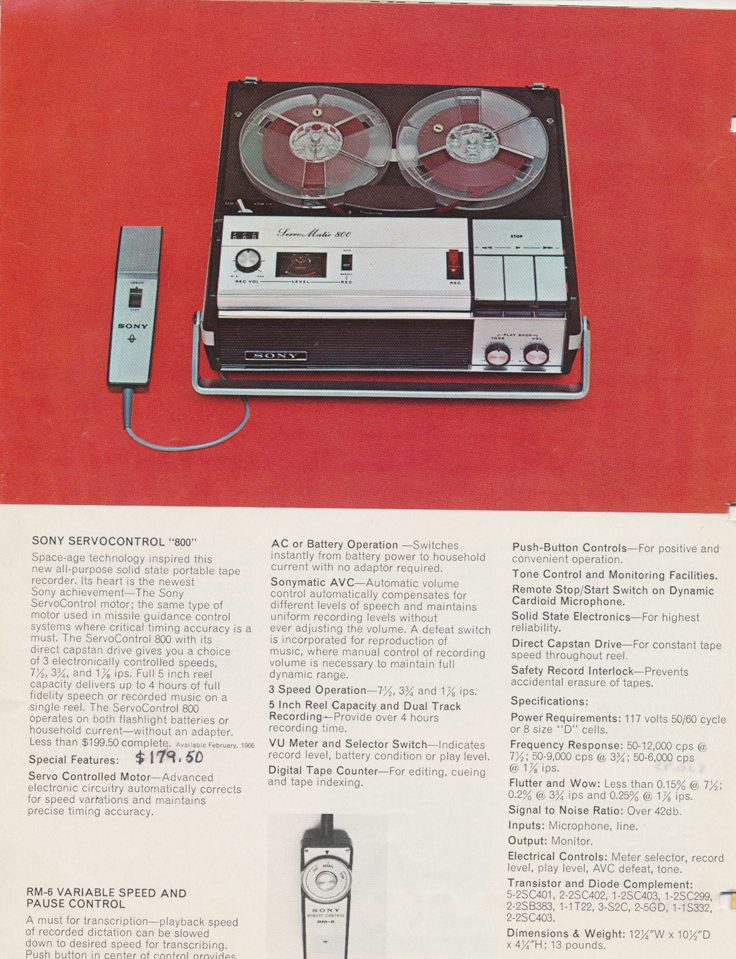 "1964 ad for the Sony Model TC-800B porpable 5"" reel tape recorder in the Reel2ReelTexas.com's vintage recording collection."