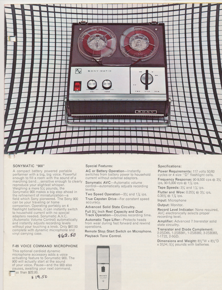 Sony 900 in the 1964 Sony Tape Recorder Catalog in Reel2ReelTexas.com's vintage reel tape recorder collection