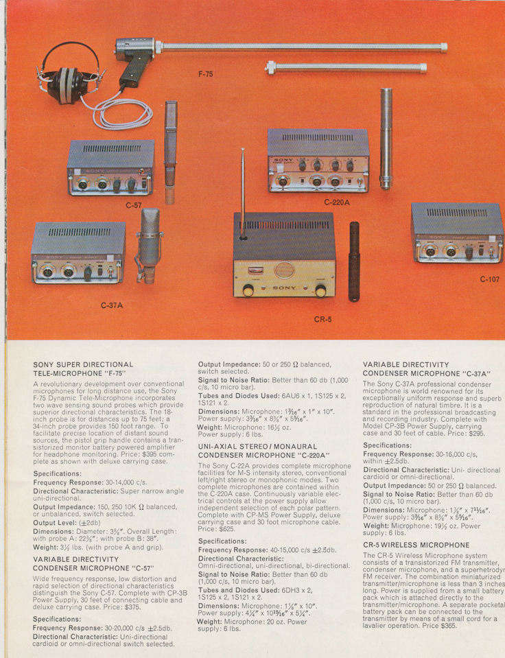 Microphones in the 1964 Sony Tape Recorder Catalog in Reel2ReelTexas.com's vintage reel tape recorder collection