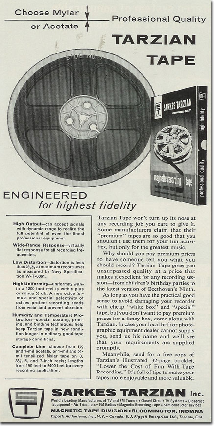 picture of a 1964 Tarzian tape ad