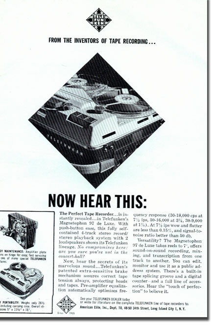 picture of Telefunken tape recorder ad in 1964