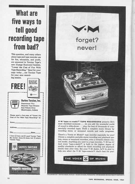 1964 ad for Tarzen recording tape and Voice of Music tape recorder in Phantom Production's vintage tape recording collection