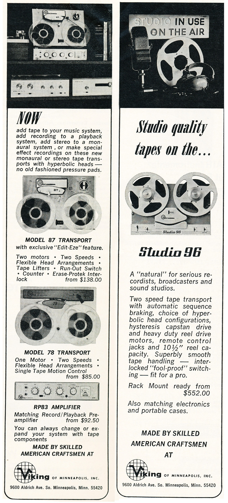 1964 ad for Viking reel to reel tape recorders in   Reel2ReelTexas.com's vintage recording collection