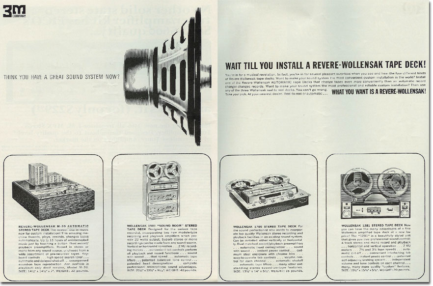 picture of 1964 Wollensak 3M reel tape recorder ad
